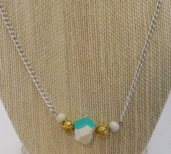 Teal and White Faceted Necklace