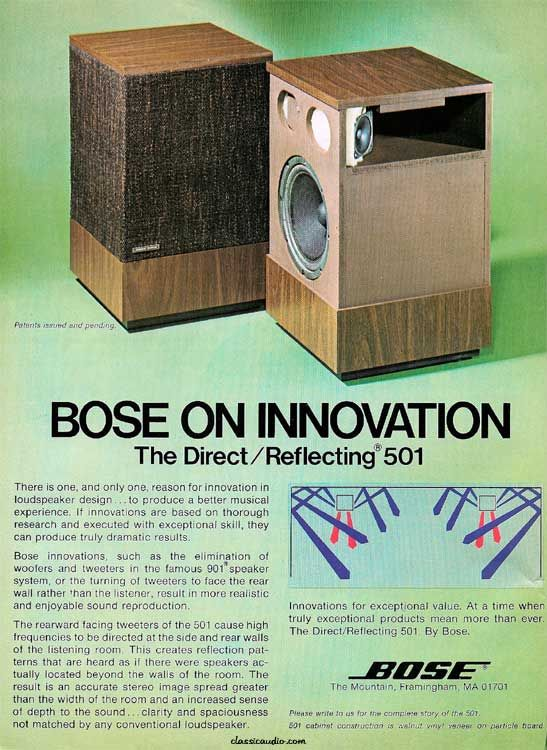 Ad For Bose 501. Far Better Than Their New Speakers