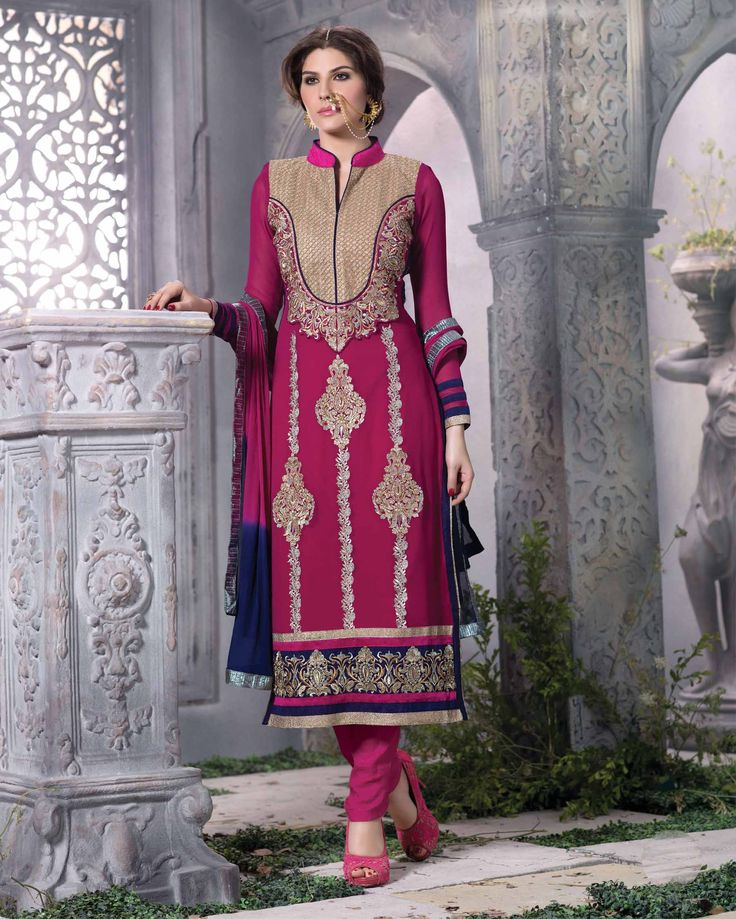 Pink   Beautiful Embroidered Pure Georgette Salwar Kameez (Semi Stitched)       Fabric:   Pure Georgette       Work:   Embroidered       Type:   Salwar Kameez (Semi   Stitched)       Color:   Pink                 Fabric Top   Pure Georgette
