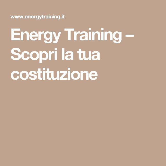 Energy Training – Scopri la tua costituzione