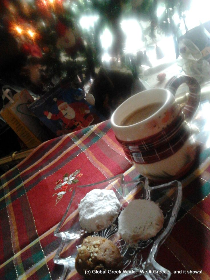 Καλημέρα! Morning after Christmas (Boxing Day) late breakfast: #GreekCoffee, #kourabiedes, #melomakarona!  Χρόνια Πολλά - Xronia Polla #BuyGREEK4Xmas