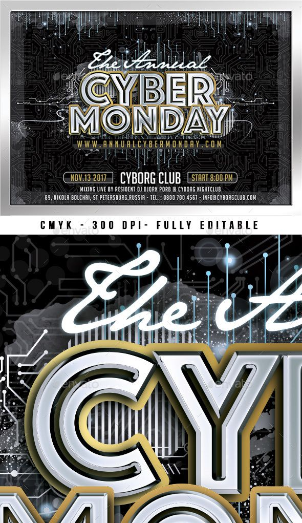 this is a flyer template for anything related to cyber monday event, celebration or sale. It is also suitable for any technological event or special a…