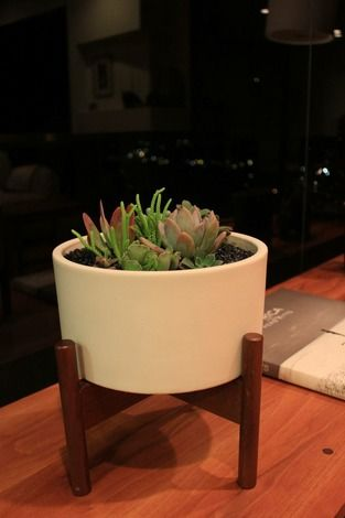 Additional view of Case Study Table Top Cylinder Planter with Wood Stand