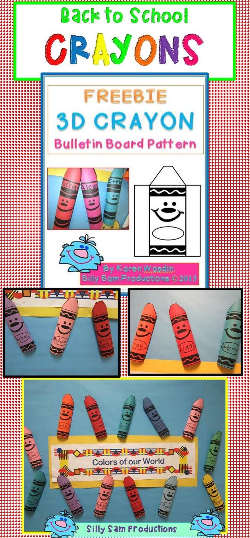 3D CRAYON Pattern FREEBIE!  Great Back to School Bulletin Board!