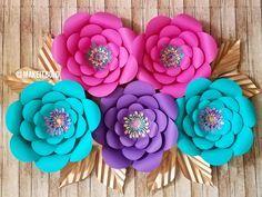 Paper Flower Backdrop, Paper Flower Set, Unicorn Party, Mermaid, Paper Flowers, Nursery Set Flowers, Paper Flower Decor, Big Paper Flowers by MakeItBoldCreations on Etsy