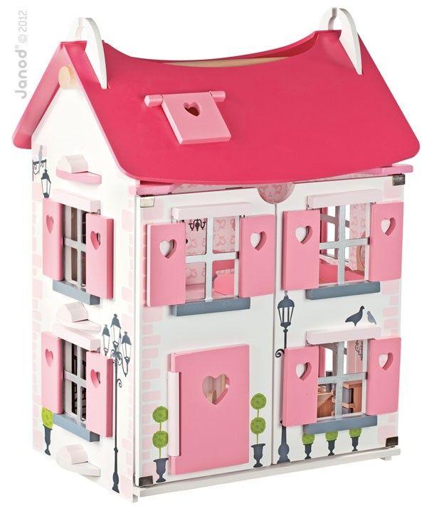 Duży drewniany domek #dla_lalek to idealna zabawka dla dziewczynek w każdym wieku, pomalowany ekologicznymi farbami, posiada meble i laleczki, Janod