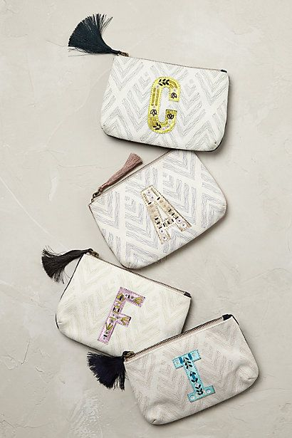 Anthropologie EU Monogram Pouch. Spell it out with the delightfully personal touch of monogram charm. These beautiful monogram pouches make a most thoughtful gift or must-have addition to custom collections.
