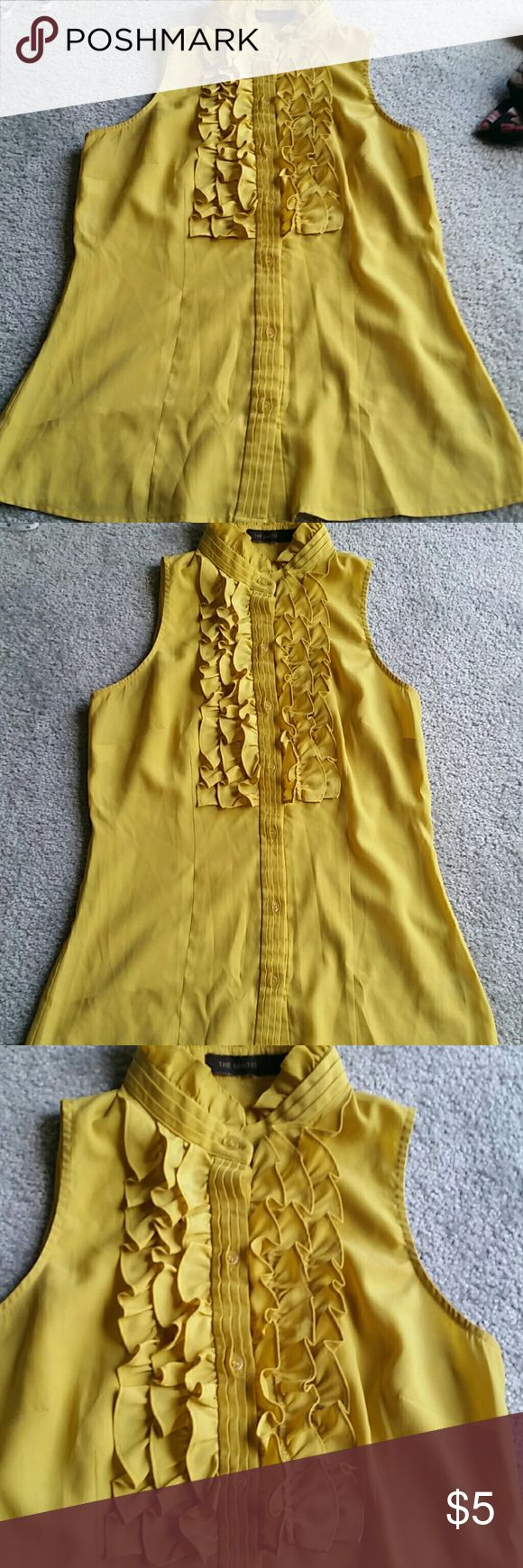 Adorable yellow sleeveless blouse EUC. Well loved blouse, perfect for work with a blazer or dress down with dark jeans for a night out! the limited  Tops