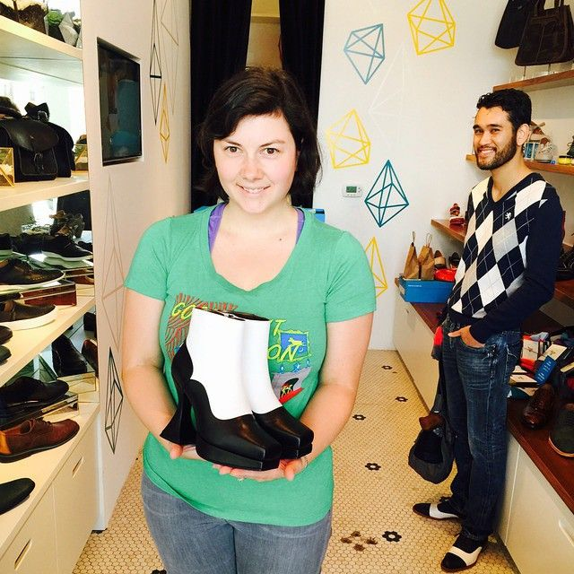 Megan at our brand new Abbot Kinney store got to FaceTime with John this afternoon and got her pair of 45th Anniversary Munsters for free! Happy #FluevogDay Megan!