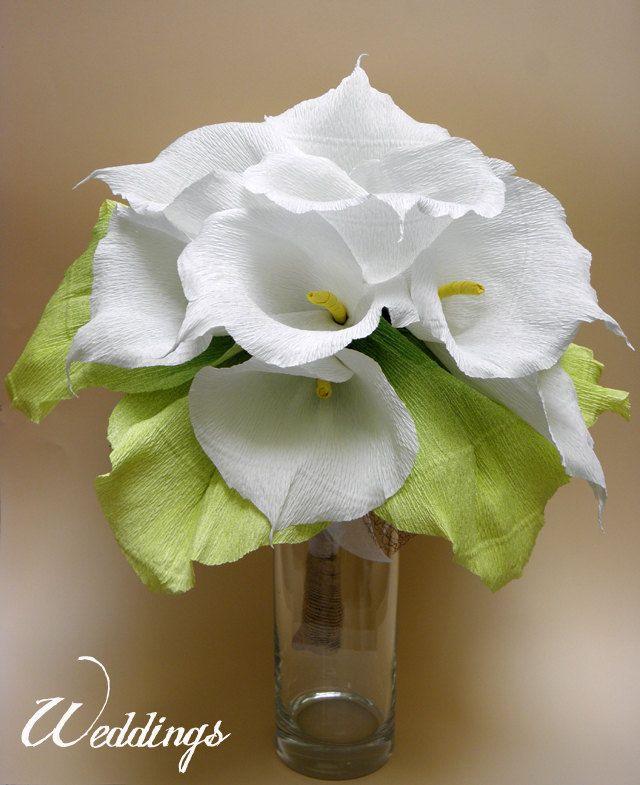 Bridal Bouquet/ Wedding Calla Lily Flowers Bouquet/ Rustic Wedding/Wedding Decor/Wedding Centerpiece/Paper Calla Lily/PAPER Wedding Bouquet (67.00 EUR) by HANDMADEONLYFORYOU
