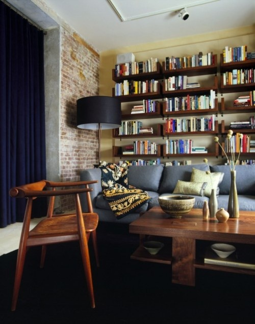 .Grey Couch, Modern Home Offices, Bookshelves, Lau Design, Living Rooms, Livingroom, Amy Lau, Exposed Brick, Modern Homes
