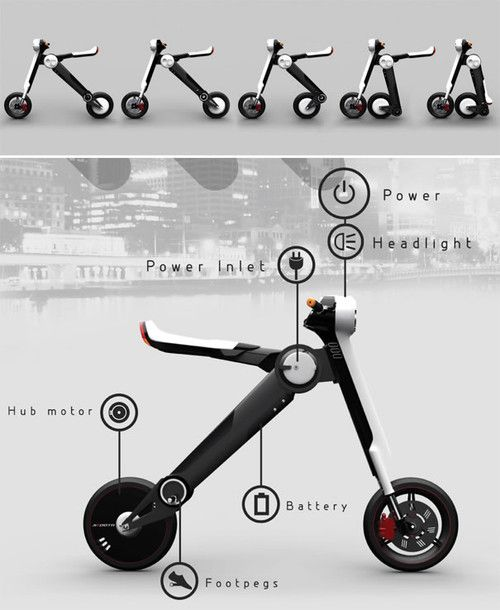 Skoota the urban electric scooter that offers low running costs, maintenance cost and easy transport because of its collapsibility.