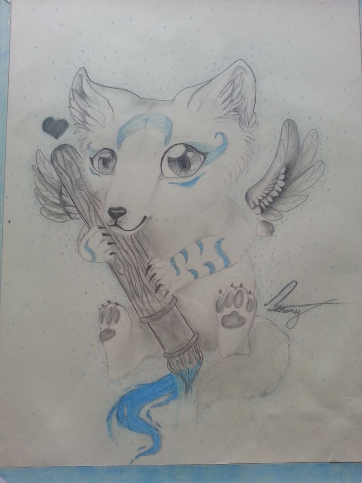 It is a graphic of Critical Dog With Wings Drawing