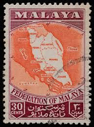 Malayan Federation stamp, 1957. It was one of the first stamps issued for this new Federation.  However, the Federation did not include Singapore nor the Straits Settlement.    AM