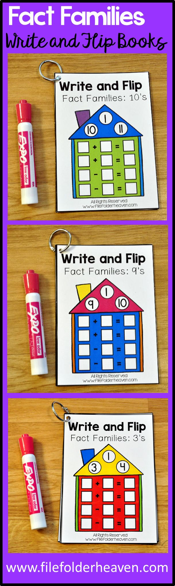 This Fact Families Write and Flip Activities Bundle includes 12 write and flip books for different fact families.  It includes all of the fact families for 1-12.  Students complete the number sentences on each page with a dry erase marker.  These activities work great in centers and work stations.