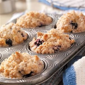 Blueberry Streusel Muffins Recipe -What a joy to set out a basket of these moist blueberry muffins topped with a super streusel on the brunch buffet. People rave when they taste them for the first time. —Mary Anne McWhirter, Pearland, Texas