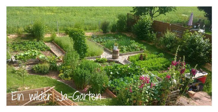 Gemüsegarten im Sommer, Bauerngarten, Garten von oben