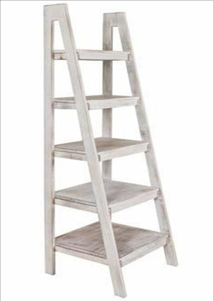 portobello rustic white wash wood ladder library unit shelves storage furniture ebay rustic. Black Bedroom Furniture Sets. Home Design Ideas