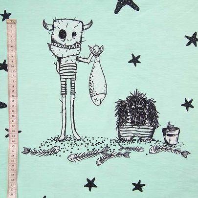 Kesäriivalit-luomujersey, merivaahto / Summertime Rudes organic single jersey knit in aqua / Käpynen