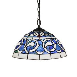 16 inch Suspension style rétro jardin européen Abat-jour en verre à motif bleu luminaire pour salon chambre salle à manger cuisine