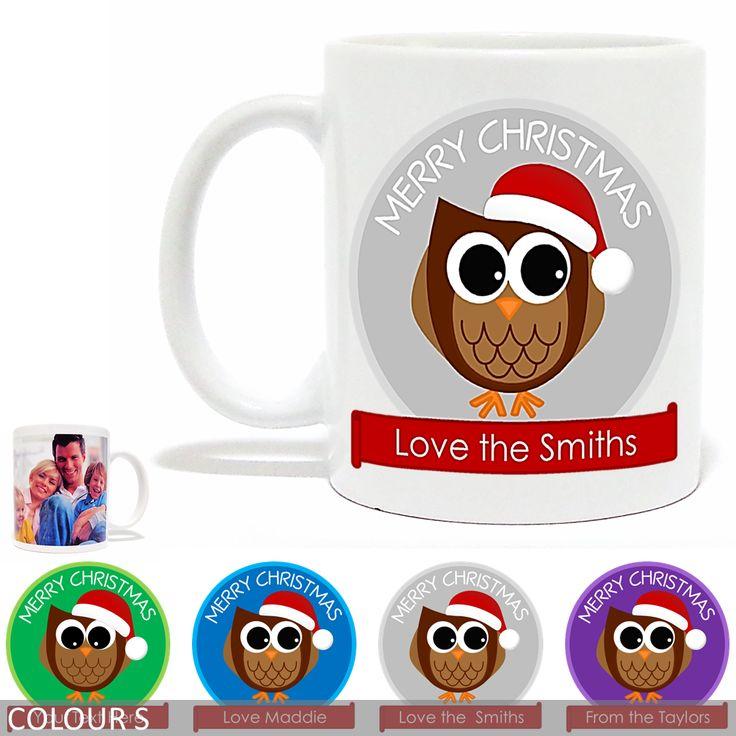 Personalised Christmas Photo Mug - Merry Christmas Owl - Banner