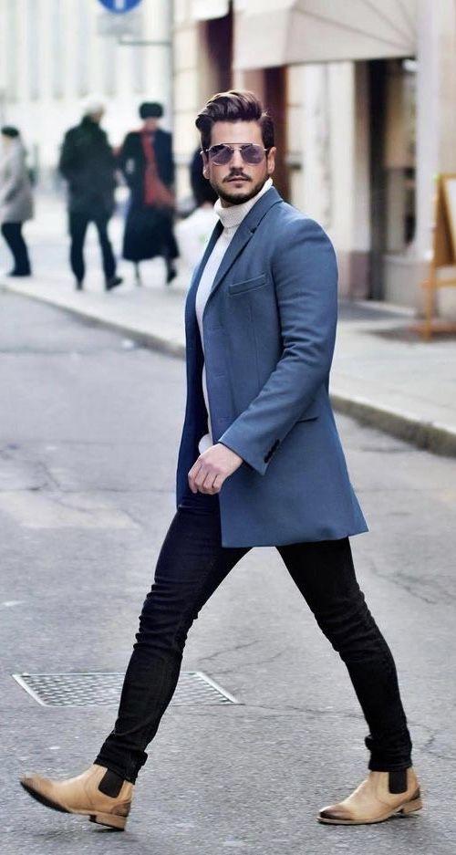 d97c4e3936b Fall business casual inspiration with a cream turtleneck blue blazer black  slim cut denim sunglasses tan colored chelsea boots. model unknown.