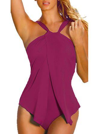 VERYVOGA Solid Color Halter Elegant Plus Size One-piece Swimsuits – Rose