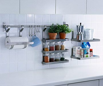 Backsplash Storage Solutions -- Gotta love IKEA products!! Ever efficient. I love the bits I have...