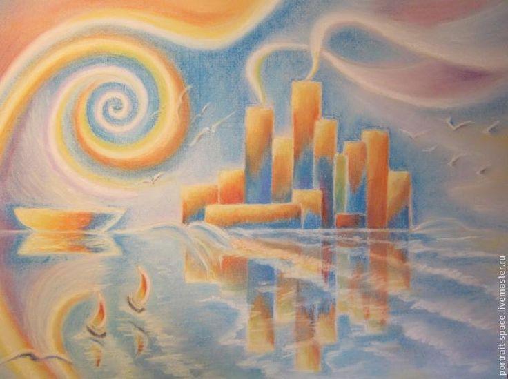 Рисуем пастелью: волшебный город на побережье - Ярмарка Мастеров - ручная работа, handmade