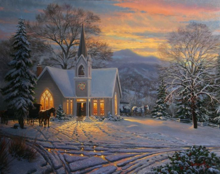 His Light Shines by Mark Keathley ~ winter chapel sunset yesteryear horse-drawn carriage