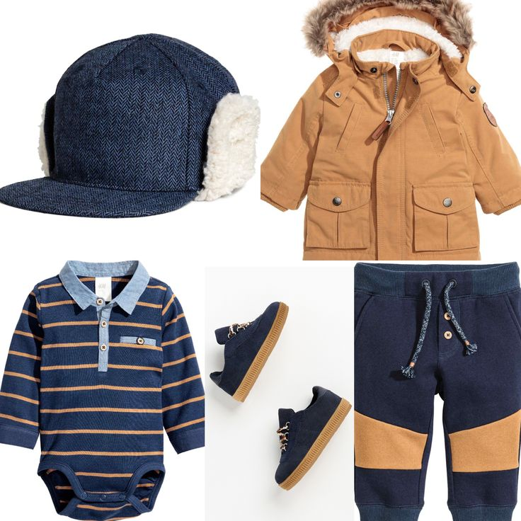 Baby boy outfit. H&M blue trousers, striped body, denim hat and brown parka. Zara sneakers. 2016 fall collection.