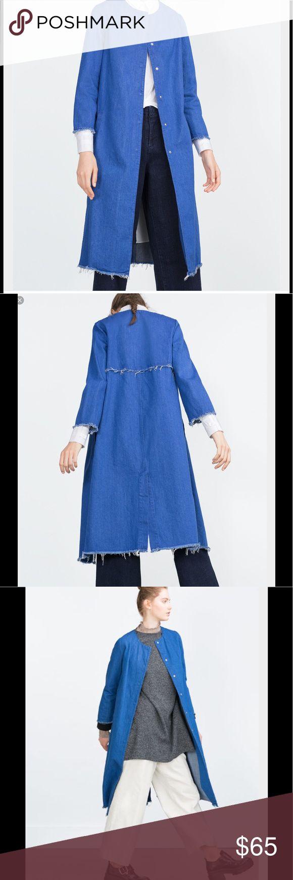 Zara trafaluc denim long overcoat jeans blue new Brand new with tags Zara Jackets & Coats Trench Coats