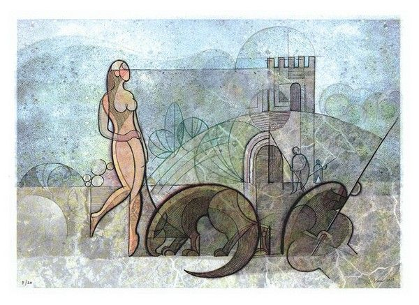 Titolo: La passeggiata, Tecnica: tecnica mista su cartoncino, Dimensione: 31x43, Artist: Roberto Viesi