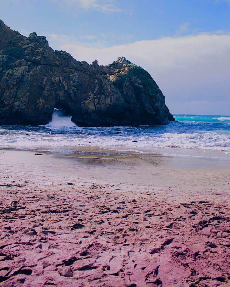 Purple sand on Pfeiffer Beach Big Sur, California