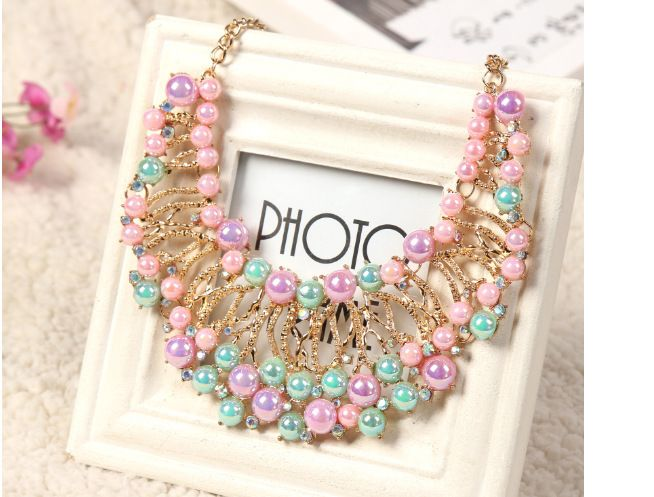 Charm Colourful Jewelry Immitation Pearl Bijoux Chokers Collar Multi level Statement Necklace 2014 Woman Statement Bib DFX 222-in Chain Necklaces from Jewelry on Aliexpress.com   Alibaba Group