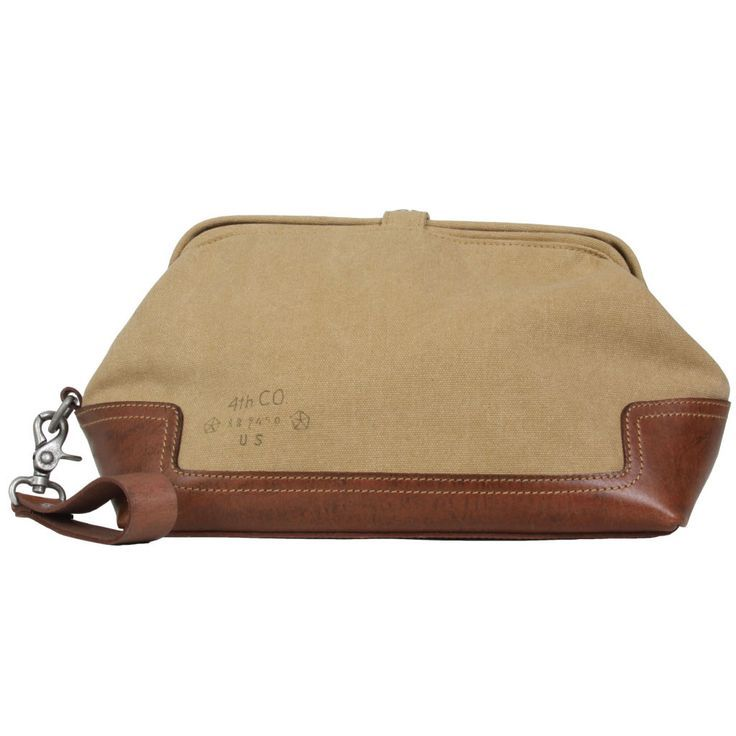 Unique washbag with clamshell opening.