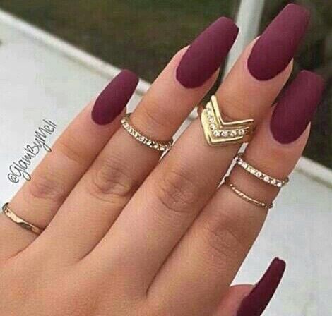 grafika nails, rings, and red