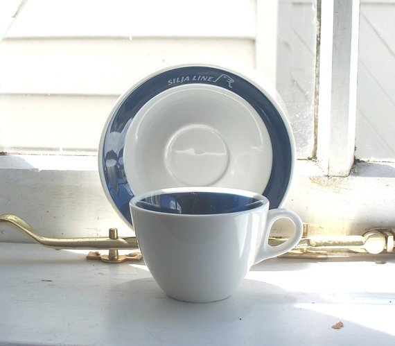 Nautical cup and saucer, Arabia Finland for Silja Line.