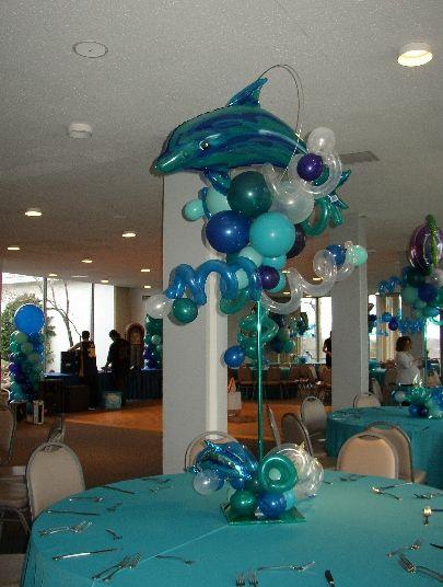 Sea Life - Dolphin Topiary Centerpiece www.ballooncityboston.com