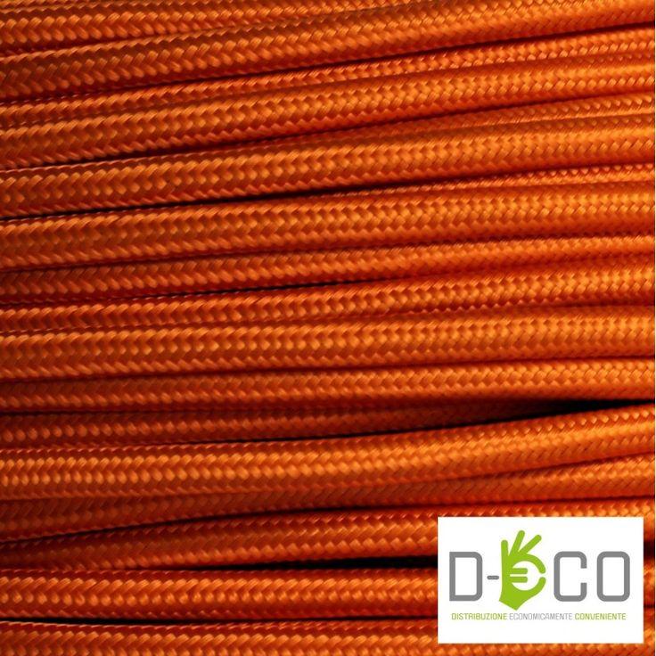 Cavo Elettrico Rotondo rivestito in Tessuto Colorato TO64 - Arancione