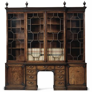 A George III mahogany library breakfront bookcase centred below by a pedestal library writing table circa 1770, in the manner of Thomas Chippendale - Sotheby's
