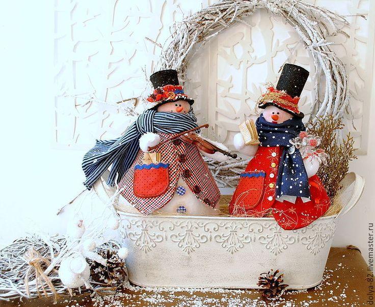 """Купить Снеговики. Новогодняя композиция """"СпЕлись"""" - ярко-красный, снеговик, тильда, тильда снеговик"""