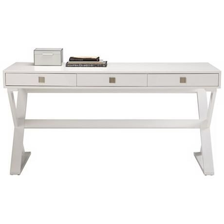 "Fortino Contemporary High Gloss White Desk 59"" wide. 23"" deep. 29 1/2"" high."