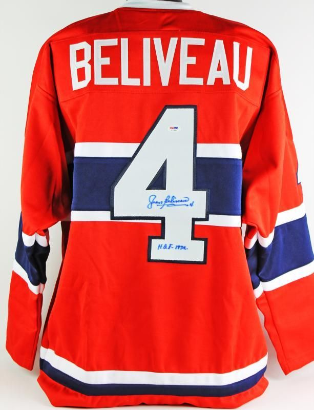 """Jean Beliveau Montreal Canadiens Autographed Jersey 472.99   This CANADIENS JEAN BELIVEAU """"HOF 1972"""" AUTHENTIC SIGNED RED JERSEY PSA/DNA has been certified authentic. It will include the PSA/DNA numbered hologram and matching Certificate of Authenticity. This is a stock item, we have several of these available. The one you will receive will be of equal quality to the one pictured. This item is in great condition and your satisfaction is guaranteed."""