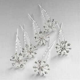 6 Crystal Snowflake Wedding Hair Pins.  (Not sure why they can't just be for Christmas....)