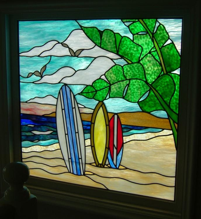 Stained Glass Beach Stained Glass Pinterest Surf
