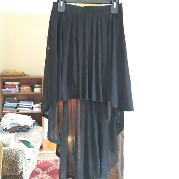 Short to Long Black Skirt Black skirt that drapes from high to low. Tight skirt under the chiffon drape. H&M Skirts High Low