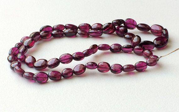Garnet Oval Beads Natural Garnet Plain Oval Beads by gemsforjewels