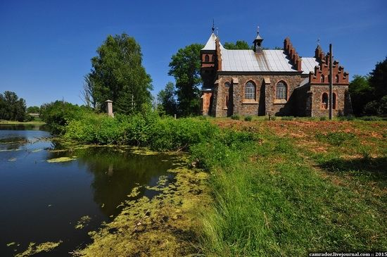 Roman-Catholic Church of St. Clara, Gorodovka, Zhitomir region, Ukraine, photo 3 Roman-Catholic Сhurch of St. Clara is a truly fabulous building which resembles a medieval castle. This miracle of architecture stands on the shore of a small pond in the village of Gorodovka (Andrushevsky district of Zhitomir region).