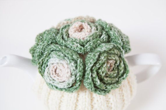 Cream Tea Cozy with Varigated Green Crocheted by BittyCreations